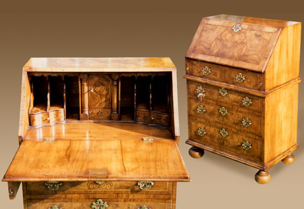 WV6 Walnut Veneered Bureau