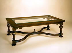 SOF11 Glass Top – Crinoline Stretcher Coffee Table