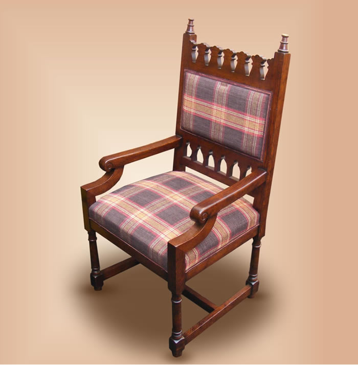SC10437 OC17 Upholstered Gothic Arm Chair
