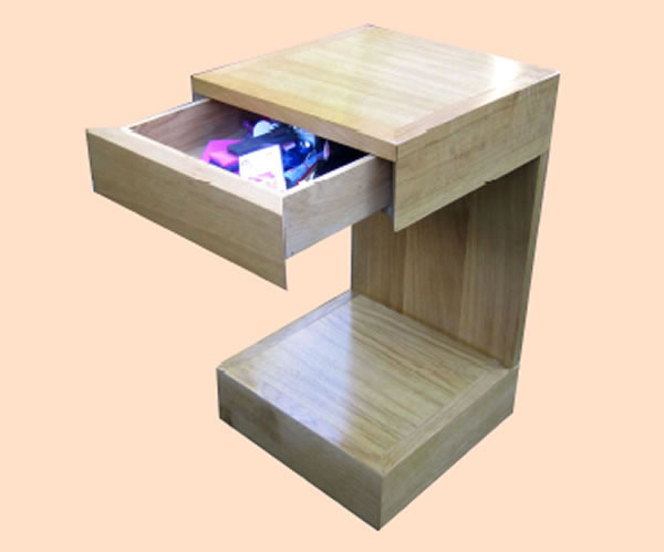 SC7034 Contemporary oak bedside cabinet with drawer