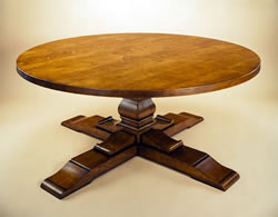 OT20 Round Table – Square Column –  Cross Base - Oak