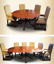 OT29 Dining Table – Extending Quad Podium – 2 Leaves