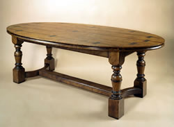 OT34E Oval Table – Burr Elm 4 Leg – Exposed Dovetail