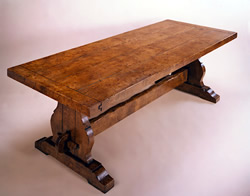 OT5E Dining Table – Burr Elm Trestle End